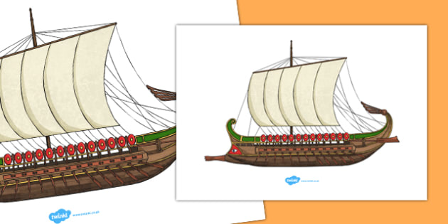 Roman Ship Cut Out A4 - roman ship, a4, cut out, cut, out, roman, ship