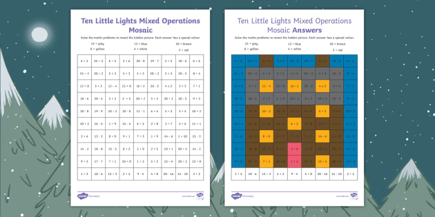 Ten Little Lights Mixed Operation Maths Mosaic Worksheet /