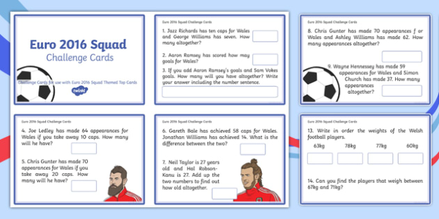 Euro 2016 Squad Themed Top Cards For Year 2 Challenge Cards - Welsh