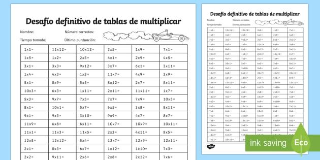Las tablas de multiplicar Tarjetas de desafío de matemáticas de atención a la diversidad
