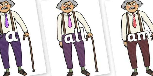 Foundation Stage 2 Keywords on Little Old Man - FS2, CLL, keywords, Communication language and literacy,  Display, Key words, high frequency words, foundation stage literacy, DfES Letters and Sounds, Letters and Sounds, spelling