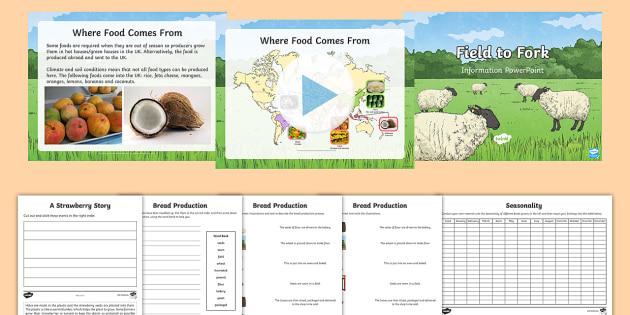 ks2 field to fork resource pack seasonality food vegetables milk bread