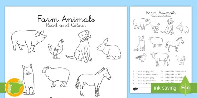 Ficha de actividad: Lee y colorea los animales de la granja en