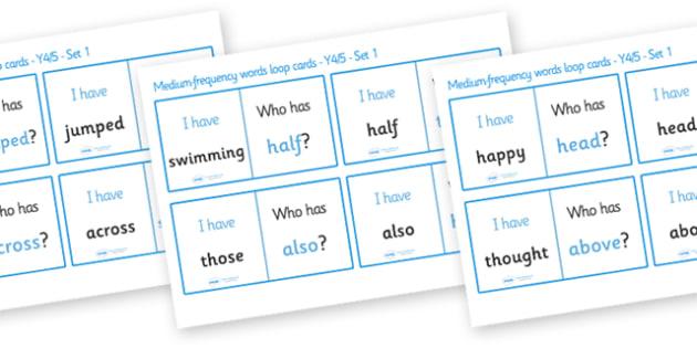 Medium Frequency Word Loop Cards Set 1 (Y4 & Y5) - medium frequency words, loop cards, set, set 1, frequency words, words, medium, Y4, Y5, year 4, year 5, five, four, year, loop cards, cards, flashcards, loop, image