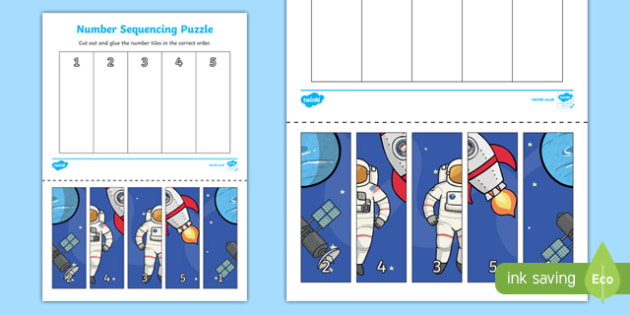 Space Themed Number Sequencing Puzzle - numeracy, sort, order