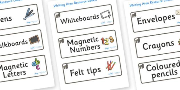 Gorilla Themed Editable Writing Area Resource Labels - Themed writing resource labels, literacy area labels, writing area resources, Label template, Resource Label, Name Labels, Editable Labels, Drawer Labels, KS1 Labels, Foundation Labels, Foundatio