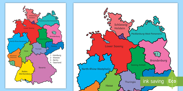German Federal States Display Poster Germany Bundesländer