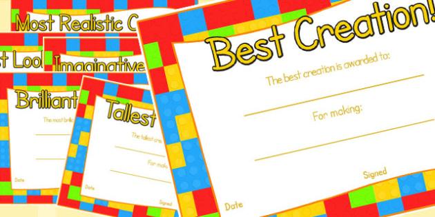 Toy Figure Creation Award Certificates - awards, rewards, certificate