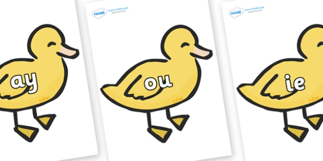 Phase 5 Phonemes on Ducklings - Phonemes, phoneme, Phase 5, Phase five, Foundation, Literacy, Letters and Sounds, DfES, display