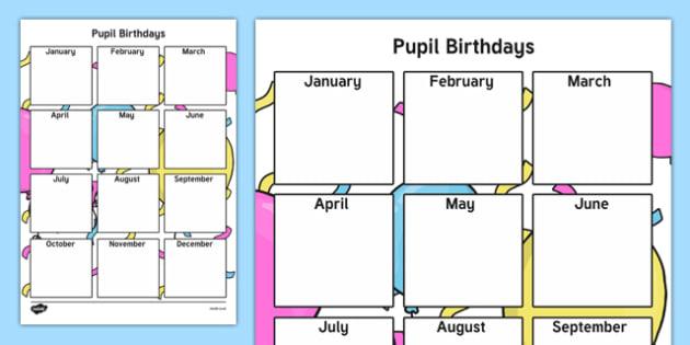 Pupil Birthday Checklist-Irish