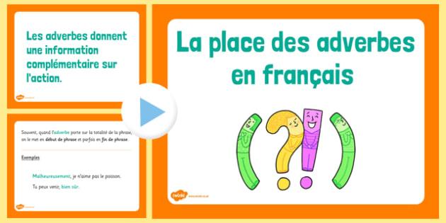 La place des adverbes en français - french, basic syntax, adverbs, basic, syntax, language