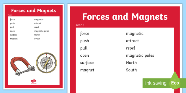 Year 3 Forces Scientific Vocabulary Poster LKS2 KS2 force