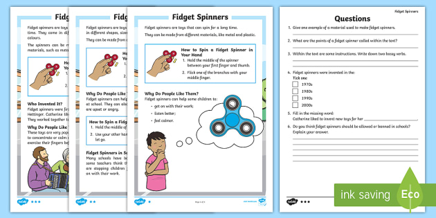 KS1 Fid Spinners Differentiated Reading prehension