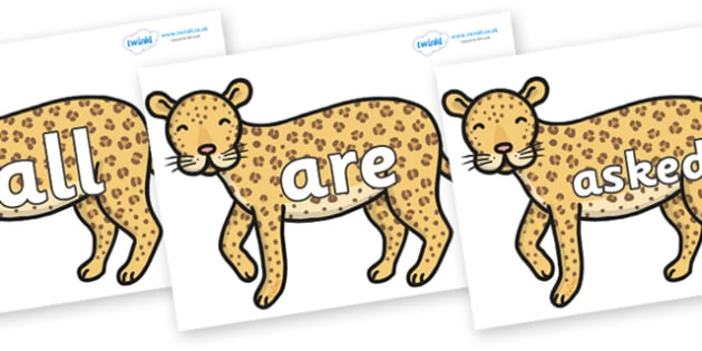 Tricky Words on Leopards - Tricky words, DfES Letters and Sounds, Letters and sounds, display, words