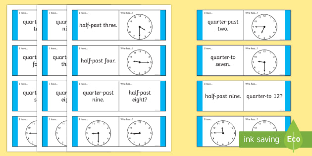 Half Past Quarter To Loop Cards Analogue Clocks - analogue, clocks