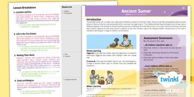 History: Ancient Sumer UKS2 Planning Overview