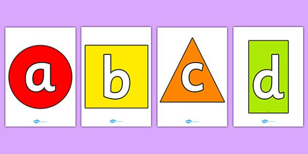 Alphabet On 2D Shapes - a-z, alphabet display, shape, maths