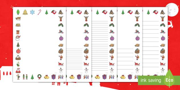 Christmas Page Border Pack English Hindi Xmas Happy Christmas Tree