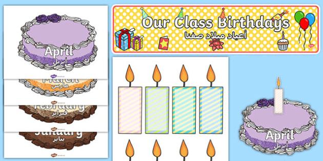 Editable Birthday Display Set Cakes Arabic Translation - arabic, Birthday set, birthday display, banner, birthday, birthday poster, birthday display, months of the year, cake, balloons, happy birthday