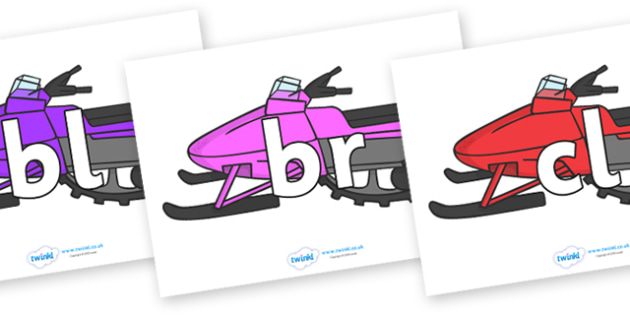 Initial Letter Blends on Snowmobiles - Initial Letters, initial letter, letter blend, letter blends, consonant, consonants, digraph, trigraph, literacy, alphabet, letters, foundation stage literacy