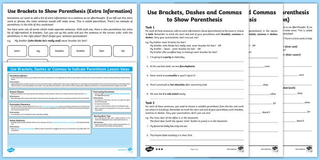 UKS2 Brackets and Punctuation For Parenthesis Resource Pack