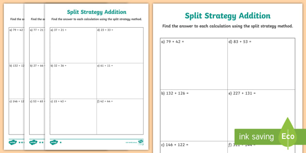 Differentiated Split Strategy Addition Worksheet - Maths