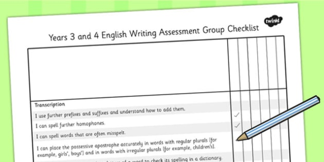 2014 National Curriculum LKS2 Years 3 and 4 Writing Assessment Checklist