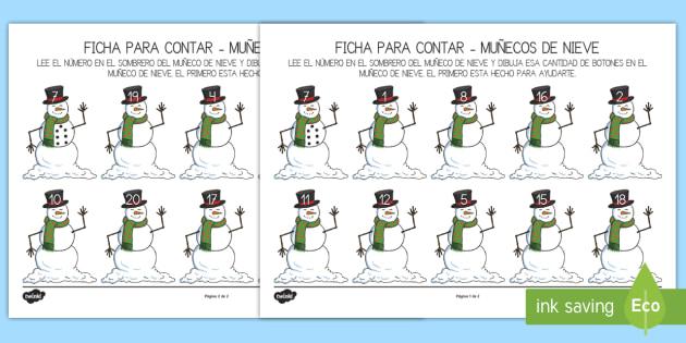 Ficha para contar:  El muñeco de nieve - nieve, invierno, las estaciones, navidad,Spanish, muñeco de nieve - nieve, invierno, las estaciones, navidad,Spanish, muñeco de nieve
