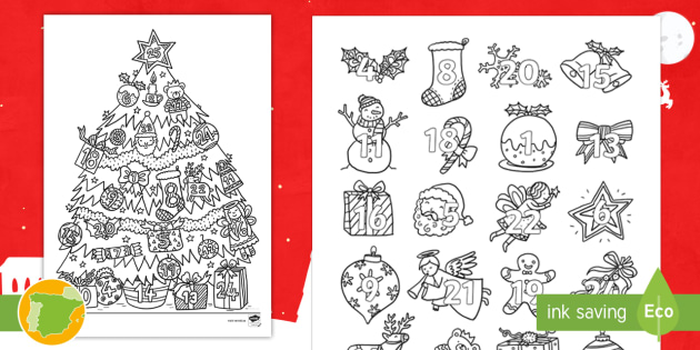 Hojas para colorear: Árbol y Calendario de Navidad - Navidad