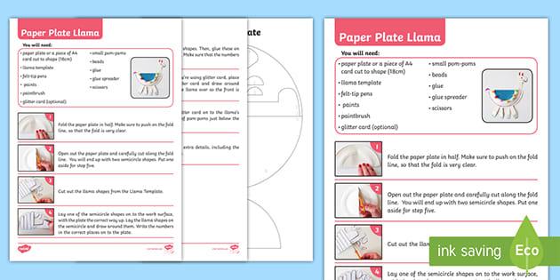 t tp 7121 paper plate llama craft instructions ver 2