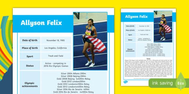 USA Olympians Allyson Felix Fact File