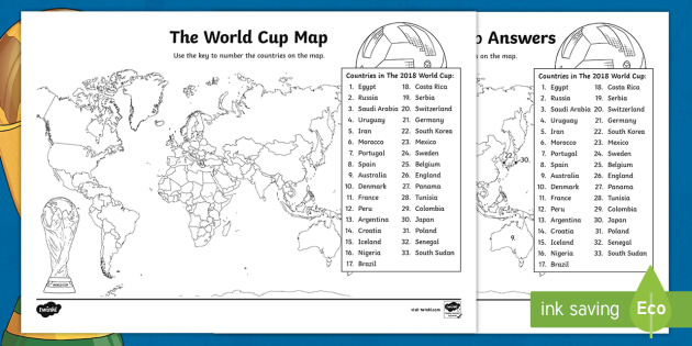 NEW The World Cup Map Worksheet The World Cup Map Worksheet