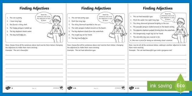 Finding Adjectives Worksheet / Activity Sheet - Finding Verbs
