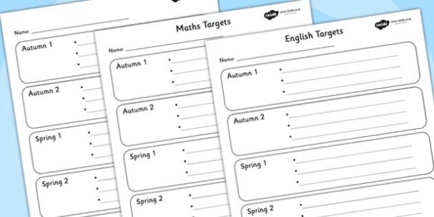 Half Termly Individual Maths and English Targets-Maths, English, Numeracy, Literacy, targets, half term targets, maths targets, english targets, my targets