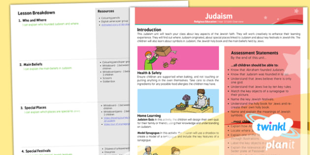RE: Judaism Year 3 Planning Overview