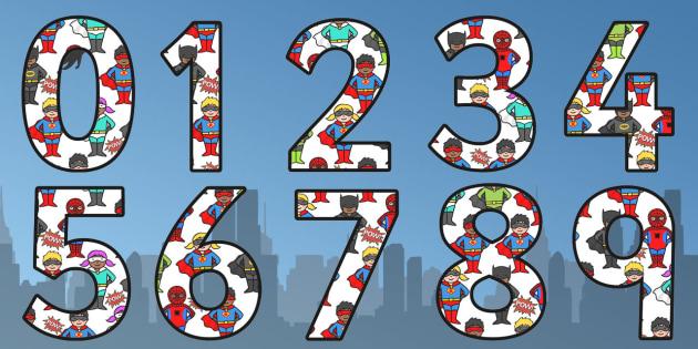 Superhero Themed Display Numbers - superhero, display, numbers