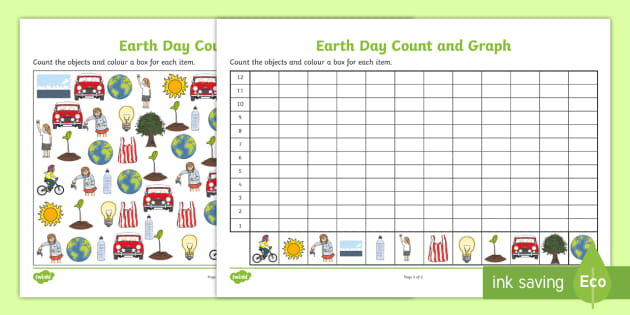 au t earth day count and graph activity sheet english ver 2