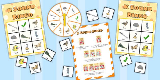 Final 'K' Sound Spinner Bingo - final k, sound, spinner, bingo