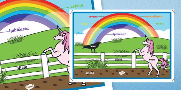 Rainbow Colours - Bosnian A2 Display Poster
