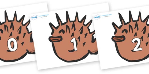 Numbers 0-100 on Puffer Fish - 0-100, foundation stage numeracy, Number recognition, Number flashcards, counting, number frieze, Display numbers, number posters