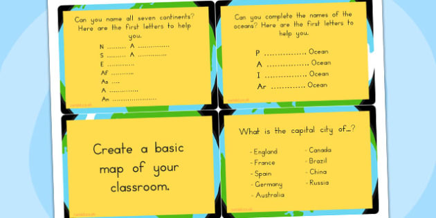 KS1 Geography Challenge Cards - activity, activities, games, game