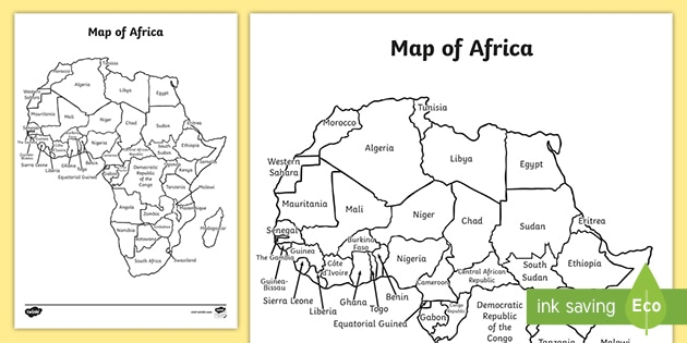 NEW * Africa Map With and Without Names Worksheets