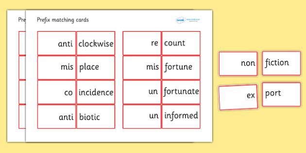 Prefix Matching Cards - prefixes, prefix matching game, prefix cards, prefix and root word matching cards, ks2 literacy, ks2 literacy matching game