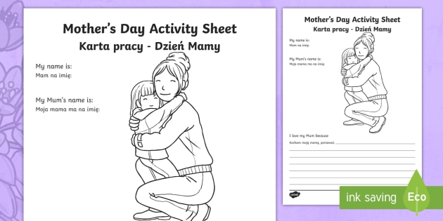 new mother 39 s day activity sheet english polish mother 39 s day worksheet. Black Bedroom Furniture Sets. Home Design Ideas