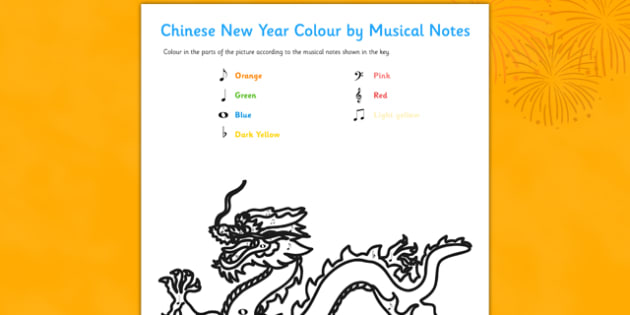 Chinese New Year Colour by Musical Notes Activity Sheet - colour, musical notes, activity, sheet, chinese new year, worksheet