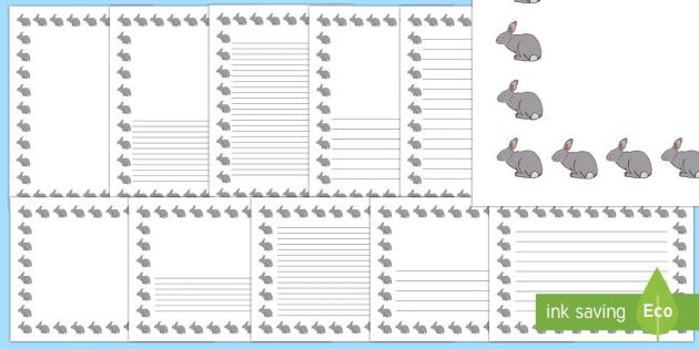 Rabbit Page Borders- Landscape Page Borders - Page border, border, writing template, writing aid, writing frame, a4 border, template, templates, landscape