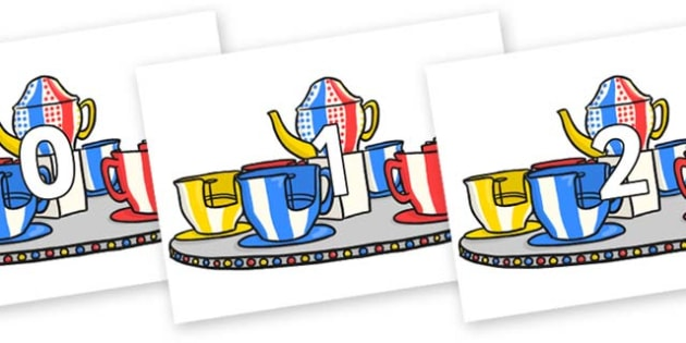 Numbers 0-50 on Fairground Teacups - 0-50, foundation stage numeracy, Number recognition, Number flashcards, counting, number frieze, Display numbers, number posters