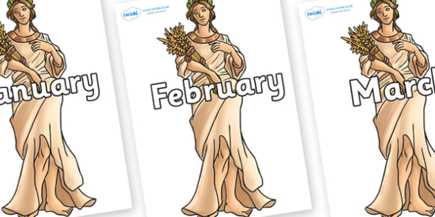 Months of the Year on Demeter - Months of the Year, Months poster, Months display, display, poster, frieze, Months, month, January, February, March, April, May, June, July, August, September