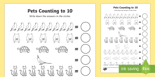 pets counting sheet 1 10