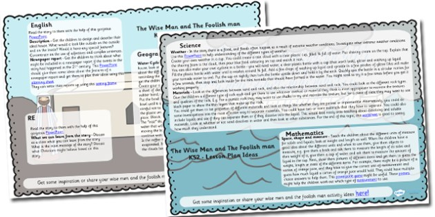 The Wise Man And The Foolish Man Lesson Plan Ideas KS2 - the wise man and the foolish man, lesson plan idea, lesson ideas, lesson planning, teaching plan